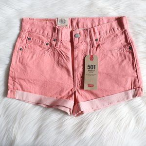 Levi's Pink 501s Mid Rise Shorts Size 28